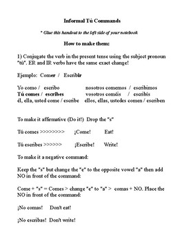 """Informal """"tú"""" commands interactive notes for notebook."""