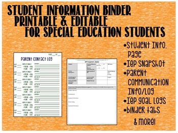 Information Binder Papers for Student with Special Education Services *Editable*