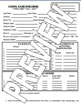 First Day - Student Information Card