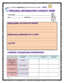 Information Contact Sheet