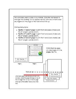 Information Foldable- Parent Information Open House