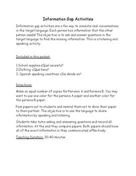 Information Gap Activities: ropa, materiales escolares, países