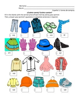 Information Gap Activity: Clothing Numbers and Costar