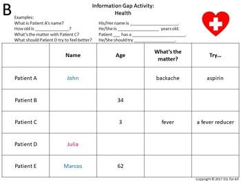 Information Gap Activity: Health/Illnesses (ESL)