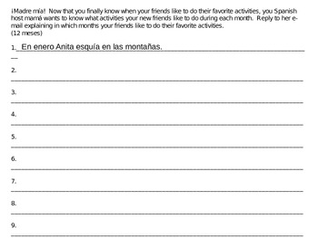 Spanish Information Gap Activity: Months of the year- Communication Activity;