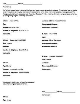 Information Gap- name, age, nationality, telephone number; address