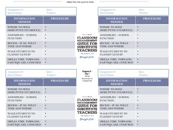 Information Necessary for Each Substitute Teaching Assignment