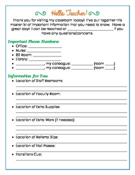 Information Packet for Your Subs - Middle/High School