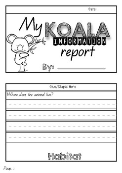 Information Report Flip Book (Koalas)