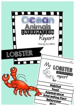 Information Report Flip Book Ocean Animals (Lobster)