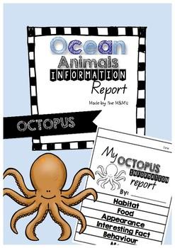 Information Report Flip Book Ocean Animals (Octopus)