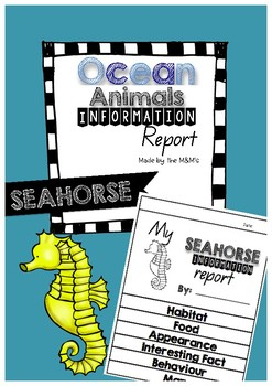 Information Report Flip Book Ocean Animals (Seahorse)