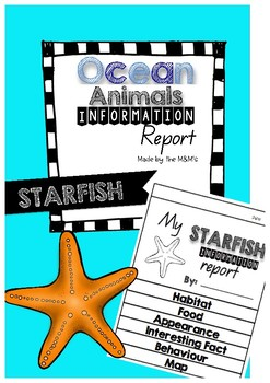 Information Report Flip Book Ocean Animals (Starfish)