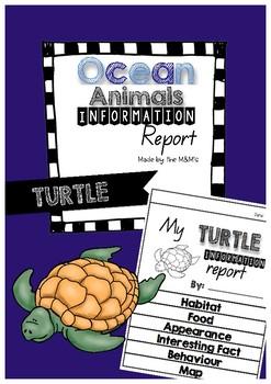 Information Report Flip Book Ocean Animals (Turtle)