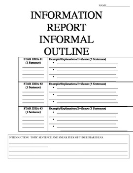 Information Report Informal Outline