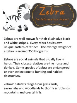 Information Report Pack - Zebra