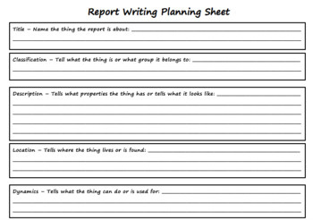 Information Report Planning Sheet