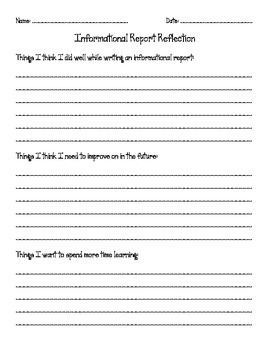 Information Report Reflection