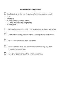 Information Report Writing Checklist