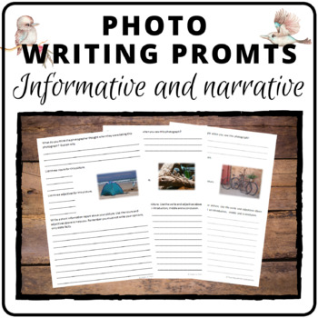 Information Report and Narrative writing pages based on photographs