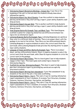 Information Report genre/text type resources for writing