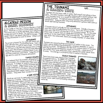 Information Reports - Reading Comprehension