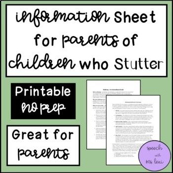 Information Sheet for Parents of Children Who Stutter