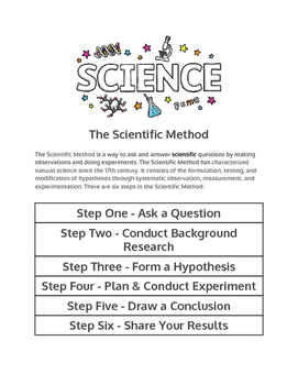 Information Sheet on the Scientific Method with matching cards