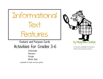 Informational Text Feature Card Activities and Games