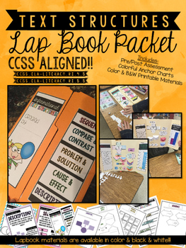 Informational Text Structures Lapbook w Pre / Post Test & Student Data Tracking