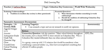 Information Text/ Nonfiction: Columbus Day Controversy Lesson