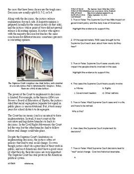 Info Reading Text - The Judicial Branch: The Supreme Court (No Prep/Sub Plan)