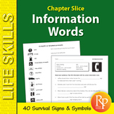 Information Words Unit: Survival Signs & Symbols Vocabulary
