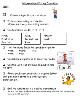Information Writing Checklist- Student Friendly