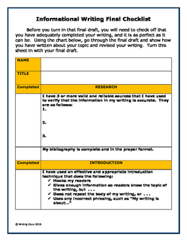 Informational Writing Final Checklist