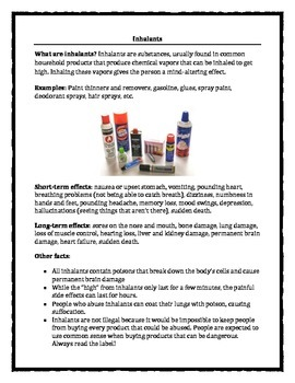 Information about drugs: inhalants