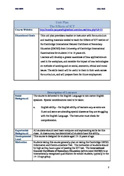 Information and Communications Technology 13 Page Unit Plan