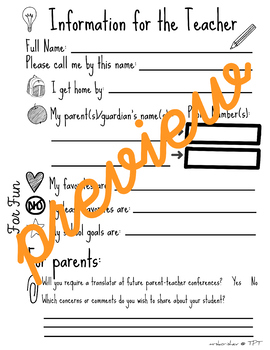 Information for the Teacher: Basic Student & Parent Information