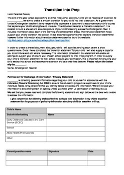 Information sheet about Transition Statements / Including permission form