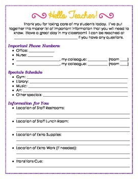 Information Packet for Your Subs - Elementary