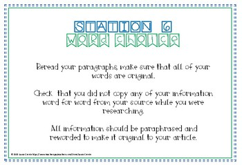 Informational Article Editing Stations with Rubric