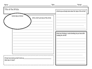 Informational Article Graphic Organizer