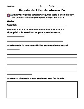 Informational Book Report (in Spanish)