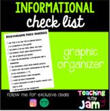 Informational Checklist - Writing Graphic Organizer