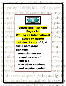 Essay Planner for Report, Research, or Summary of Information (planner pack)