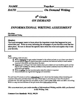 Informational Expository On Demand Writing Assessment
