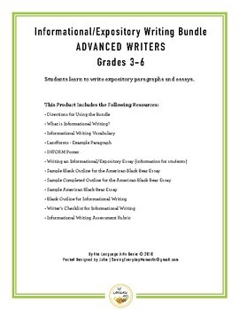 Informational/Expository Writing for Advanced Writers - Grades 3-6
