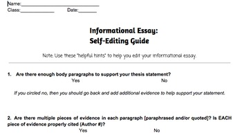 Informational & Expository Writing Revising Guide Handout -- CCSS Aligned