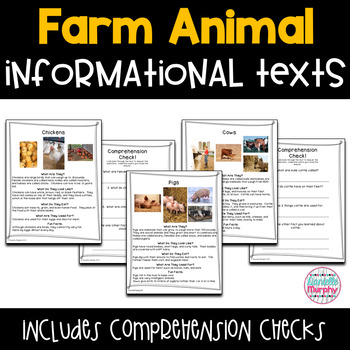 Informational Farm Animal Texts with Comprehension Checks