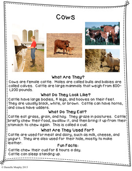 Farm Animal Informational Texts with Comprehension Checks